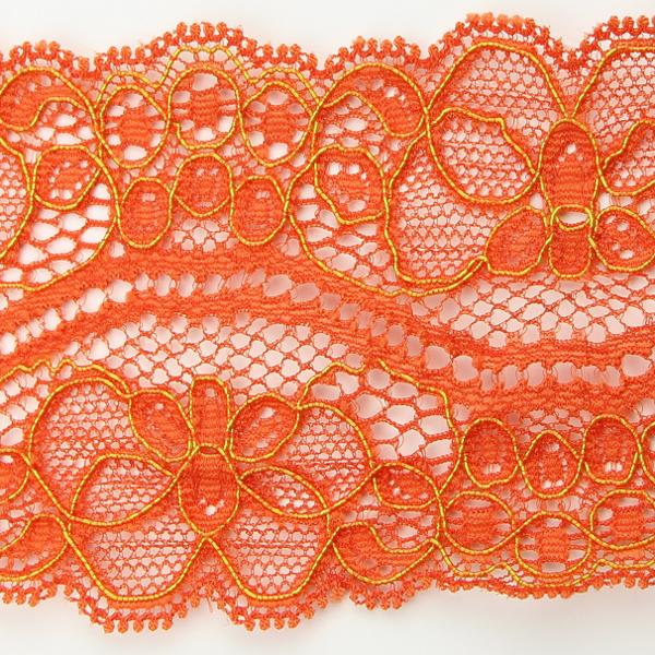 Spitzenband elastisch in orange gold