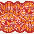 Spitzenband elastisch in rot orange
