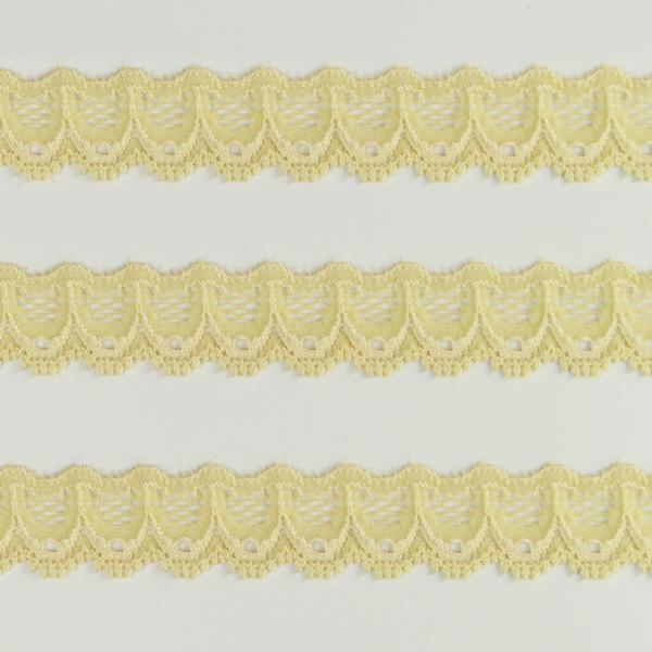 Spitzenband schmal elastisch in vanille gelb