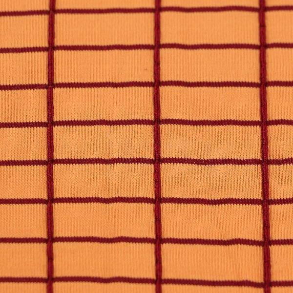 Microfaser Jersey fein matt orange dunkelrot kariert