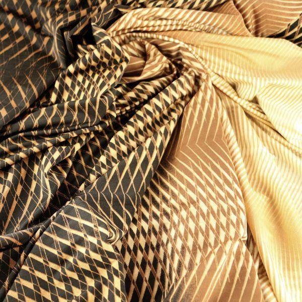 Microfaser Jersey fein glatt in gelb braun schwarz gemustert